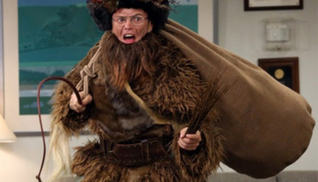A man dresses as belsnickel- Dwight Schrute  is that man